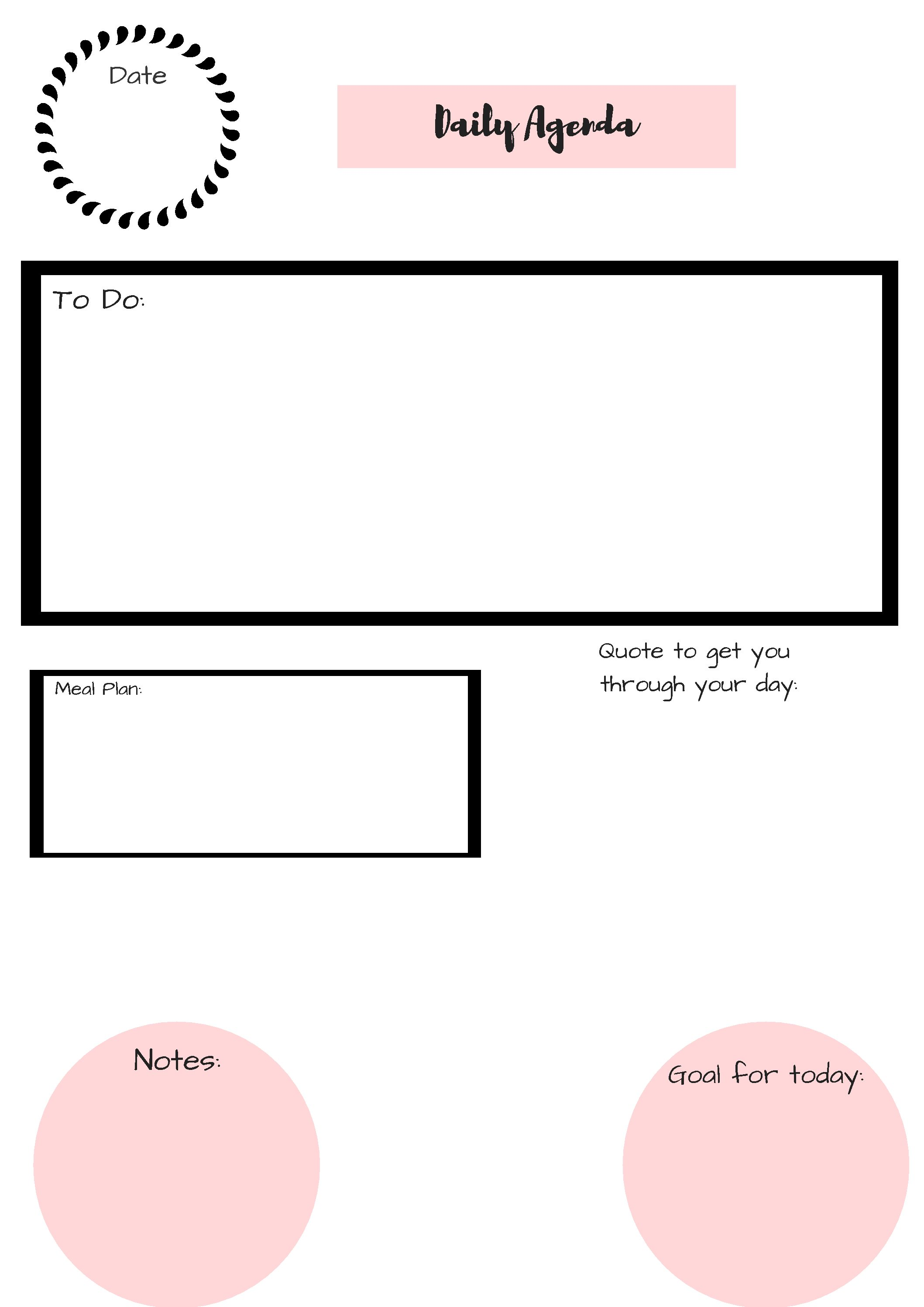 * FREE PRINTABLE DAILY PLANNER *